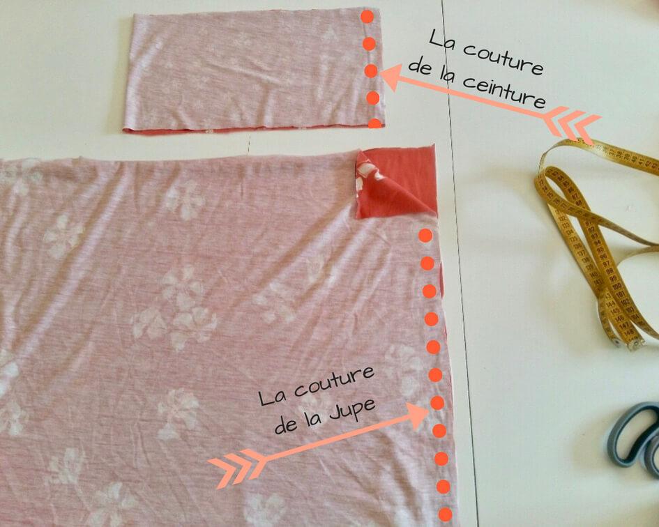 Tutoriel couture jersey jupe sans patron couture facile tutoriel couture débutante pas-à-pas Mars-ELLE