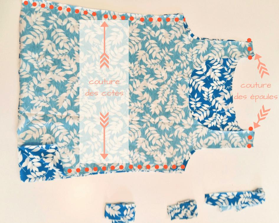 Tutoriel couture jersey débardeur facile patron gratuit mars-elle tissu bio coton