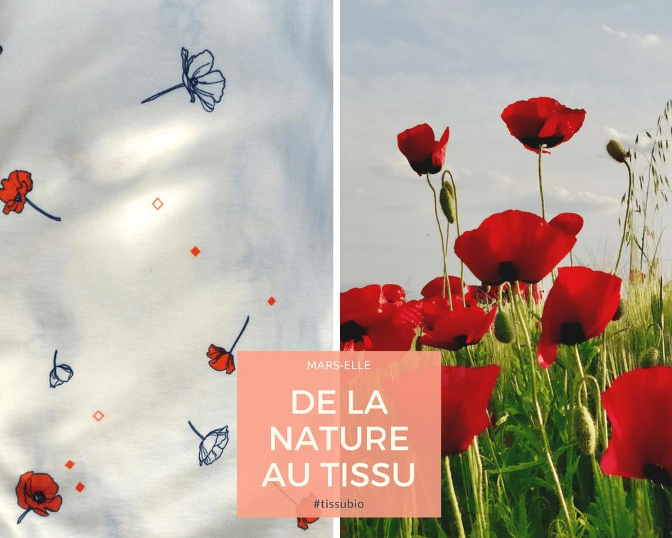 mars-ELLE tissu biologique jersey au mètre motif coquelicot