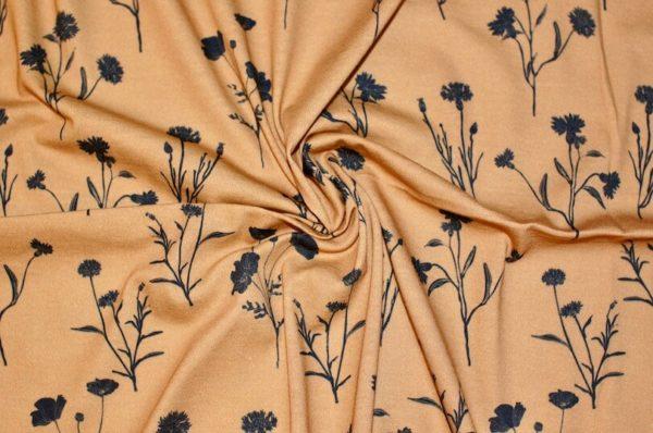 jersey coton biologique vendu au mètre tissu bio motif bleuet camel Mars-ELLE