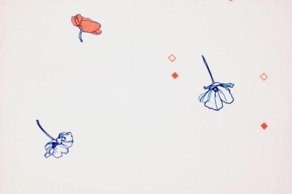 jersey coton biologique vendu au mètre tissu bio motif coquelicot rouge Mars-ELLE