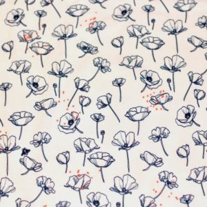 jersey coton biologique vendu au mètre tissu bio motif coquelicot seré Mars-ELLE