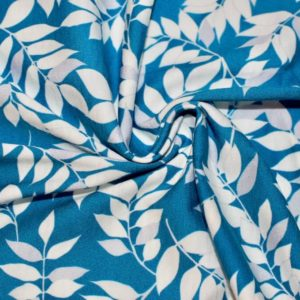 jersey coton biologique vendu au mètre tissu bio motif feuillage bleu marin Mars-ELLE