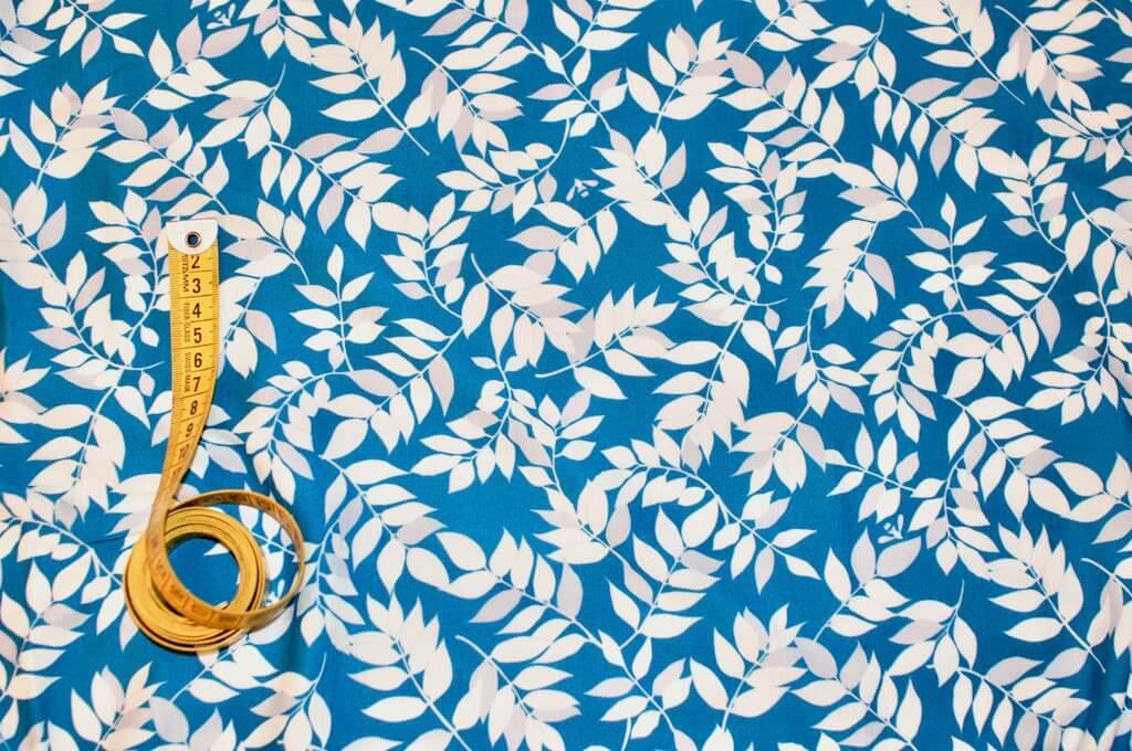 jersey bio feuillage bleu marin tissu au m tre mars elle. Black Bedroom Furniture Sets. Home Design Ideas