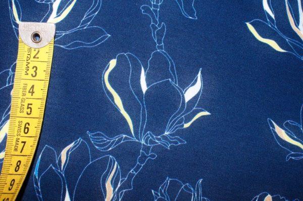 jersey coton biologique vendu au mètre tissu bio motif petites magnolia bleu marine Mars-ELLE