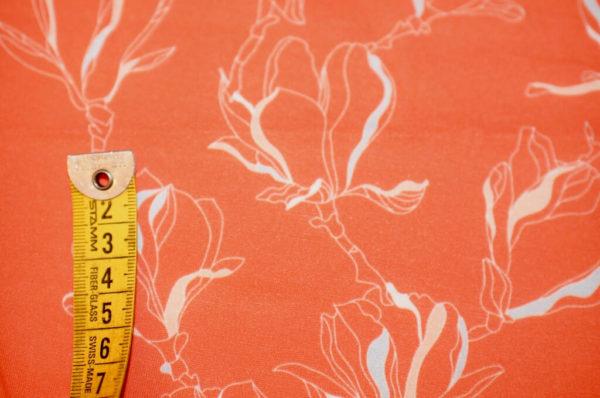 jersey coton biologique vendu au mètre tissu bio motif petites magnolia rouge corail Mars-ELLE