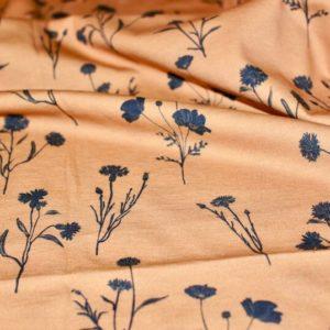 jersey coton biologique vendu au mètre tissu bio motif bleuet bleu marine Mars-ELLE