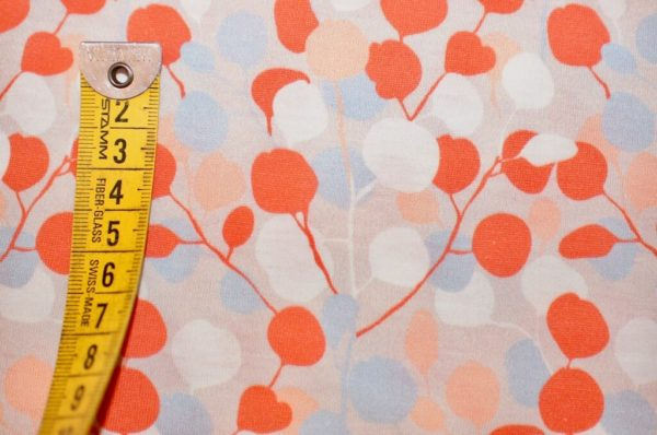 jersey coton biologique vendu au mètre tissu bio motif Eucalyptus doux Mars-ELLE