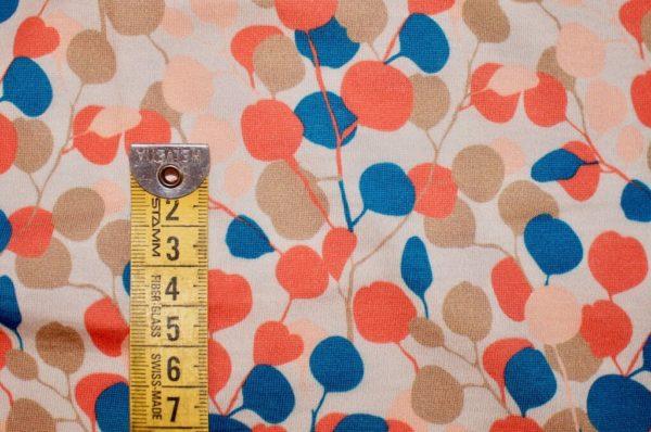 jersey coton biologique vendu au mètre tissu bio motif Eucalyptus pimenté Mars-ELLE