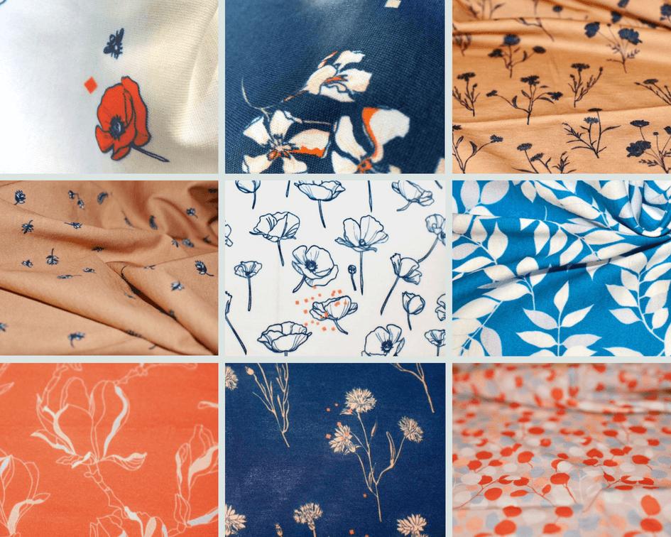 mars-ELLE tissu biologique jersey au mètre motif bleu marine camel fleur