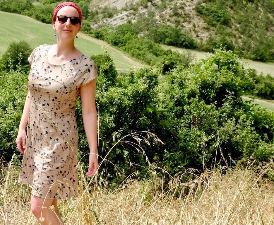 Robe jersey tissu Mars-ELLE 100% coton tutoriel couture débutant la maison victor robe madeline pas-à-pas