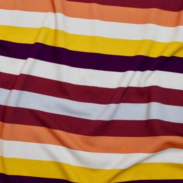 Molleton bio vendu au mètre Mars-ELLE imprimé motif ligne rayure bordeaux jaune alizée