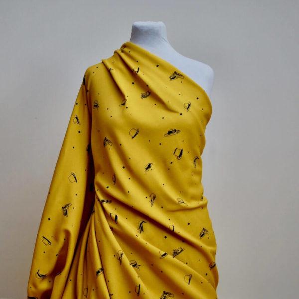 Molleton bio vendu au mètre Mars-ELLE imprimé motif Chapeaux jaune moutarde Harmattan