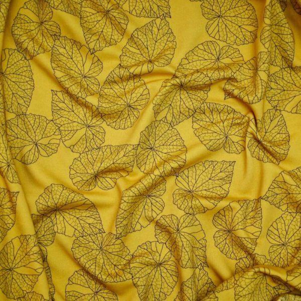 Molleton bio vendu au mètre Mars-ELLE imprimé motif Feuilles jaune moutarde meltem