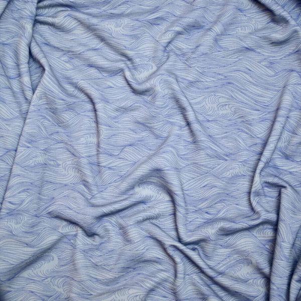 Molleton bio vendu au mètre Mars-ELLE imprimé mer gris bleu sudestadas