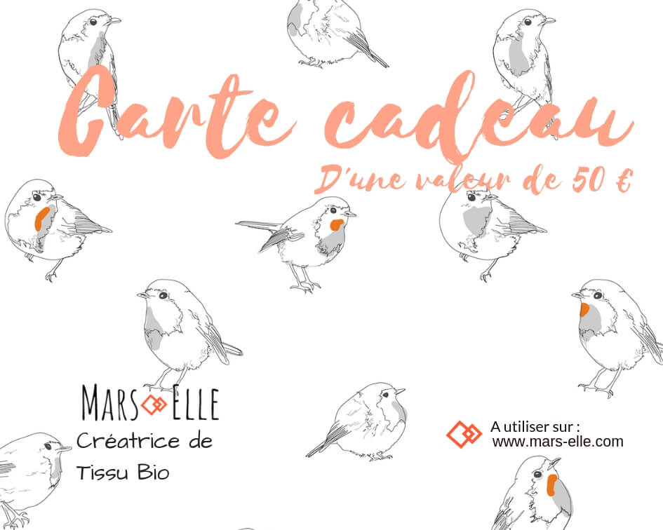 carte cadeau tissu bio Mars-ELLE 20 Euro jersey molleton biologique GOTS