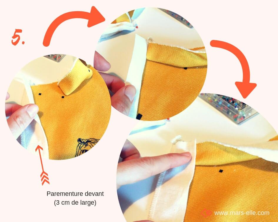 molleton bio couture facile tutoriel débutant tuto Mars-ELLE couture sweat sweatshirt patte de boutonnage épaule jaune moutarde pas-à-pas jersey simple