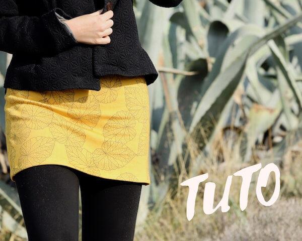 molleton bio couture facile tutoriel débutant mini jupe jaune moutarde tuto pas-à-pas jersey simple