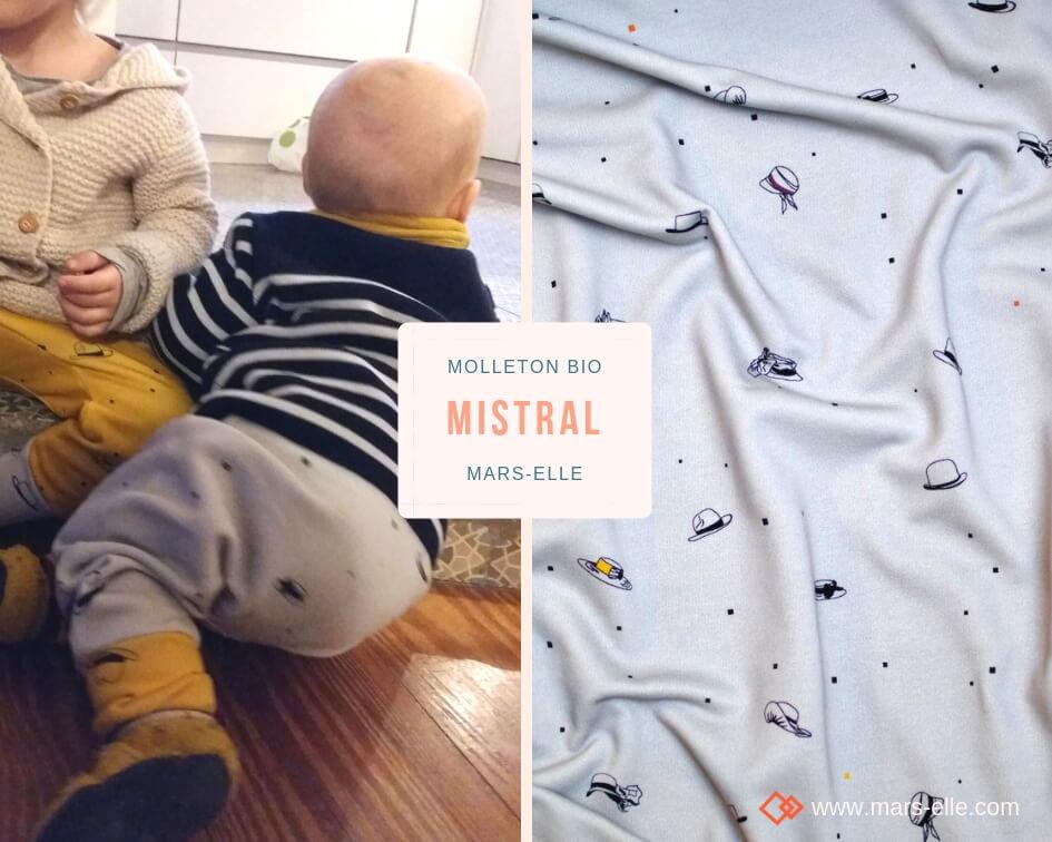 tissu bio sweat molleton biologique 100% coton sweat-shirt couture écologique vendu au mètre gris motif enfant fille garçon GOTS