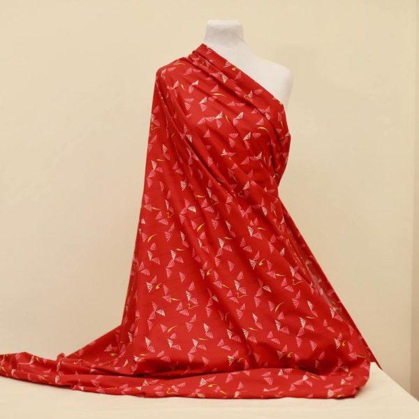 tissu bio popeline coton fleur Mars-ELLE GOTS coton biologique couture durable écologique marguerite rouge