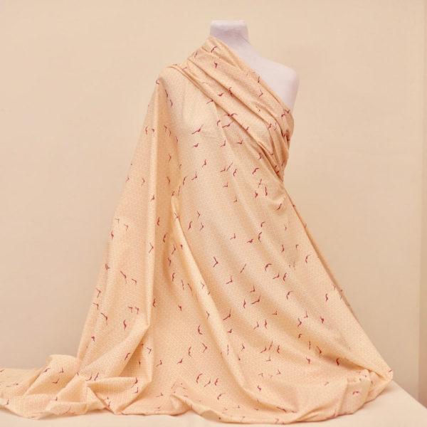 tissu bio popeline coton fleur Mars-ELLE GOTS coton biologique couture durable écologique oiseau rouge crème rose art-déco