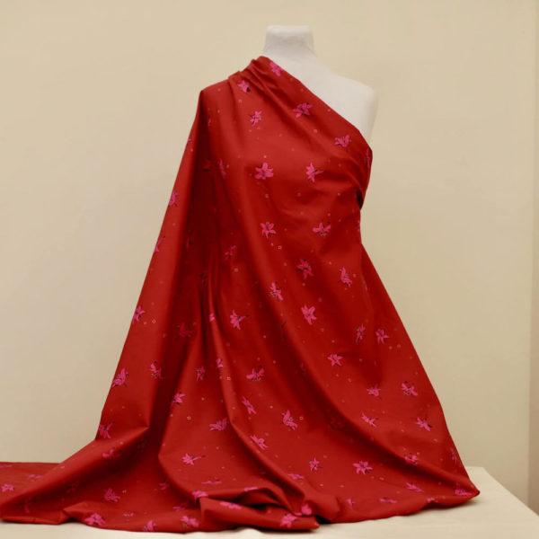 tissu bio popeline coton fleur Mars-ELLE GOTS coton biologique couture durable écologique motif