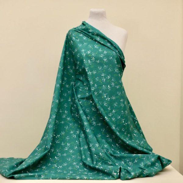 tissu bio popeline coton fleur Mars-ELLE GOTS coton biologique couture durable écologique marguerite rouge motif Lys vert blanc