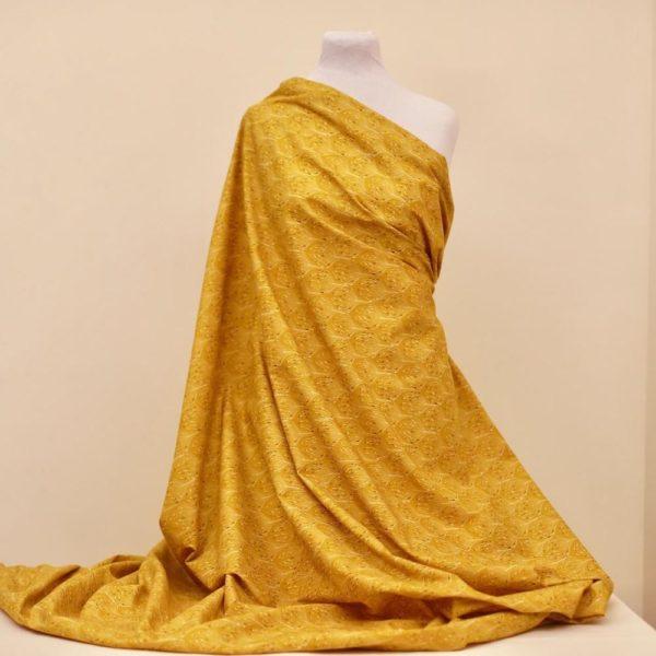 tissu bio popeline coton fleur Mars-ELLE GOTS coton biologique couture durable écologique marguerite rouge Art-déco plume de paon jaune moutarde
