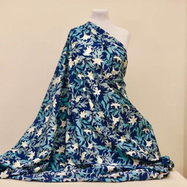 tissu bio popeline coton fleur Mars-ELLE GOTS coton biologique couture durable écologique Jungle Lys bleu foncé turquoise blanc