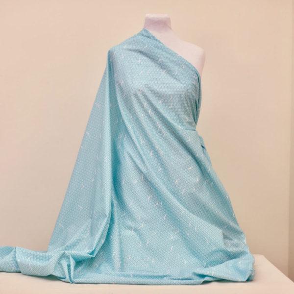 tissu bio popeline coton fleur Mars-ELLE GOTS coton biologique couture durable écologique oiseau bleu turquoise art-déco