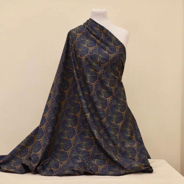 tissu bio popeline coton fleur Mars-ELLE GOTS coton biologique couture durable écologique art déco bulle bleu foncé