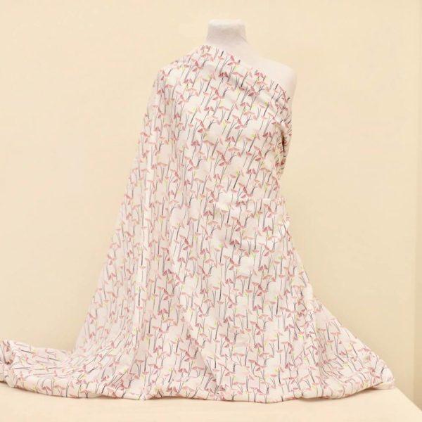 tissu bio popeline coton fleur Mars-ELLE GOTS coton biologique couture durable écologique marguerite rouge marguerite blanche et rose