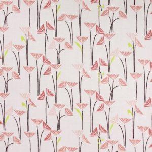 tissu bio popeline coton fleur Mars-ELLE GOTS coton biologique couture durable écologique marguerite blanche et rose