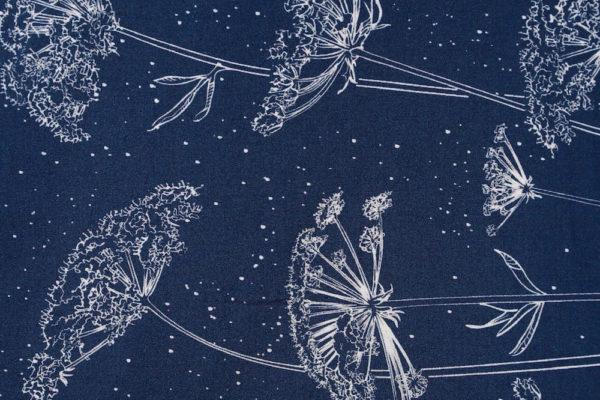 tissu bio popeline coton fleur Mars-ELLE GOTS coton biologique couture durable écologique ombelle bleu foncé lisière motif frontière
