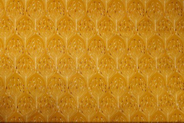 tissu bio popeline coton fleur Mars-ELLE GOTS coton biologique couture durable écologique Art-déco plume de paon jaune moutarde