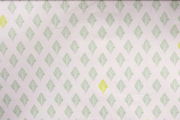 tissu bio popeline coton fleur Mars-ELLE GOTS coton biologique couture durable écologique motif feuille blanc vert nature géométrique