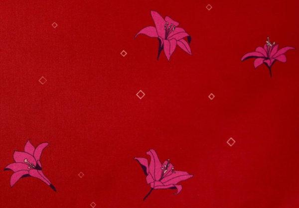 tissu bio popeline coton fleur Mars-ELLE GOTS coton biologique couture durable écologique imprimé Lys rouge rose bordeaux