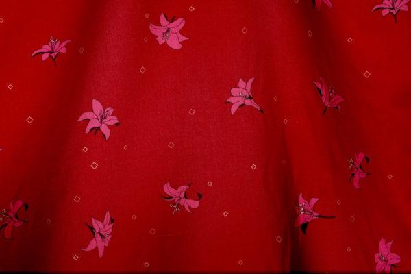 tissu bio popeline coton fleur Mars-ELLE GOTS coton biologique couture durable écologique motif imprimé Lys rouge rose bordeaux