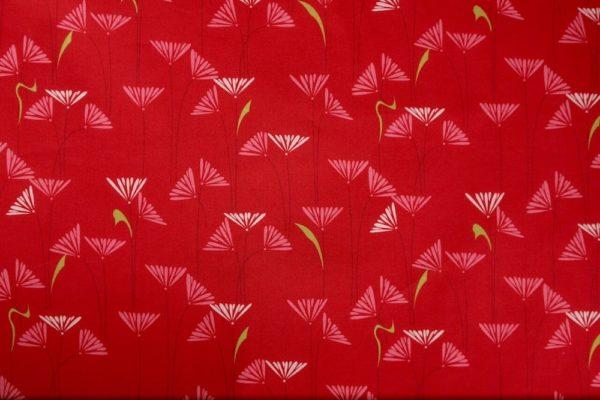 tissu bio popeline coton fleur Mars-ELLE GOTS coton biologique couture durable écologique motif imprimé marguerite rouge rose