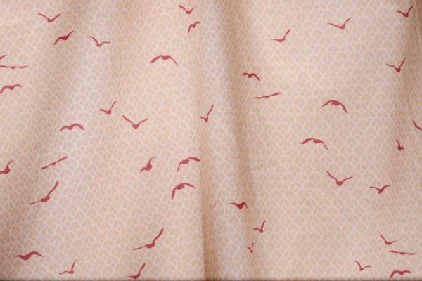 tissu bio popeline coton fleur Mars-ELLE GOTS coton biologique couture durable écologique motif imprimé oiseau rouge crème rose art-déco