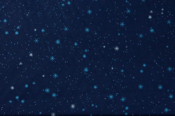 tissu bio popeline coton fleur Mars-ELLE GOTS coton biologique couture durable écologique motif imprimé étoile bleu foncé nuit