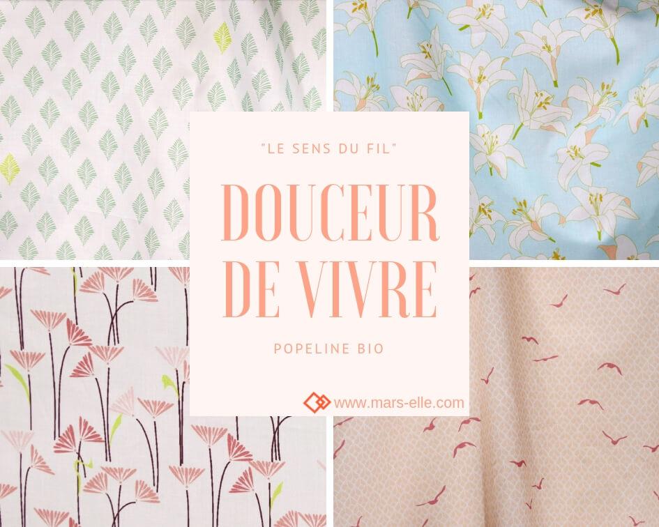 tissu bio popeline coton fleur Mars-ELLE GOTS coton biologique couture durable écologique motif imprimé pastel et couleurs douces