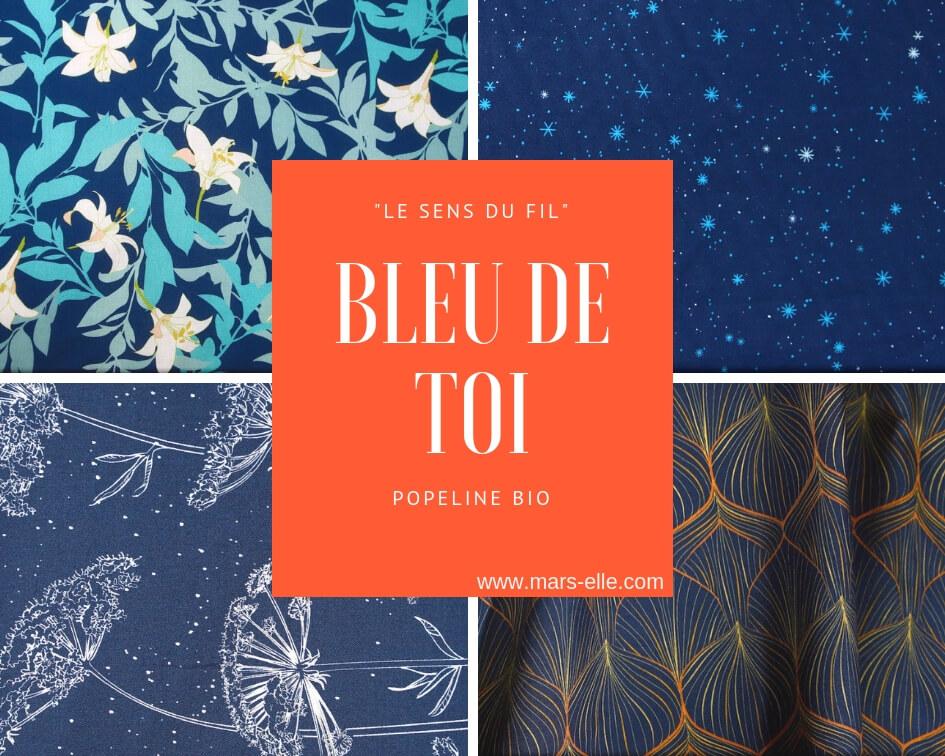 tissu bio popeline coton fleur Mars-ELLE GOTS coton biologique couture durable écologique motif imprimé bleu foncé bleu marine bleu nuit