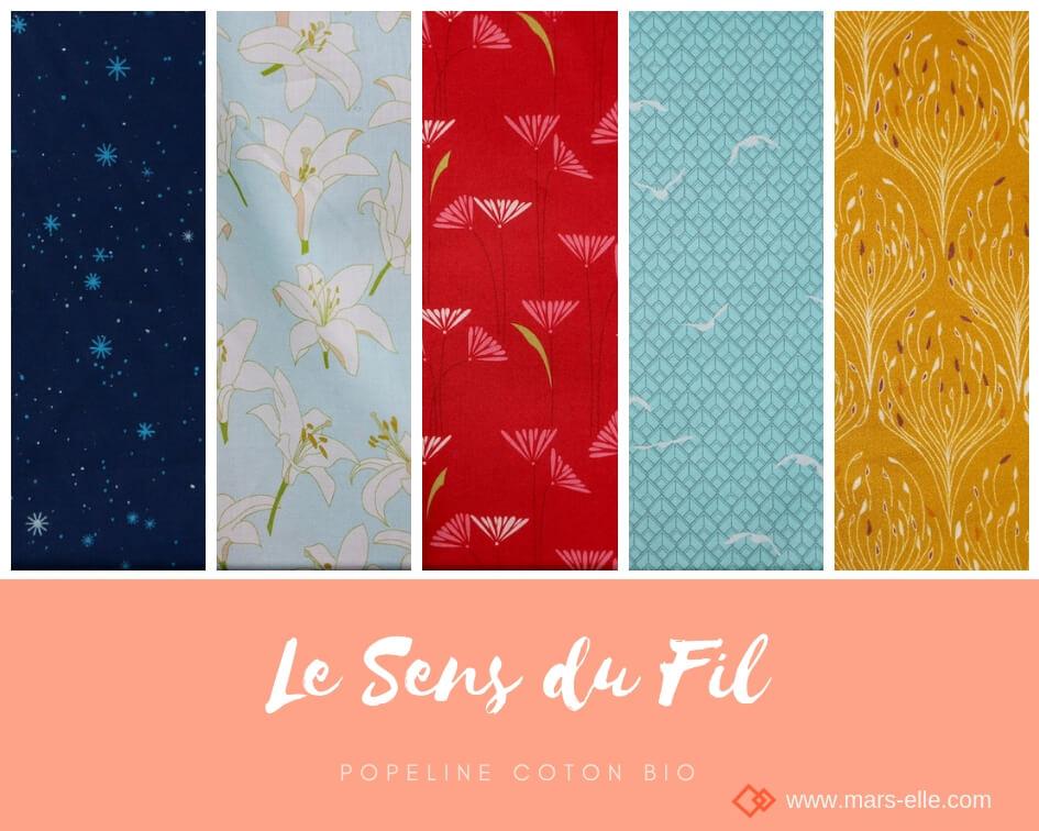 tissu bio popeline coton fleur Mars-ELLE GOTS coton biologique couture durable écologique motif imprimé couleurs vives rouge bordeaux vert turquoise jaune moutarde
