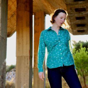 tissu bio popeline coton fleur Mars-ELLE GOTS coton biologique couture durable écologique motif imprimé fleur vert forêt