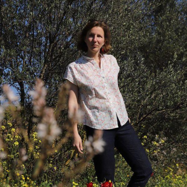 tissu bio popeline coton fleur Mars-ELLE GOTS coton biologique couture durable écologique motif imprimé marguerite fleur blanche rose