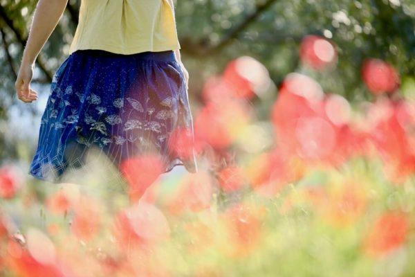 tissu bio popeline coton fleur Mars-ELLE GOTS coton biologique couture durable écologique motif imprimé ombelle fleur bleu foncé