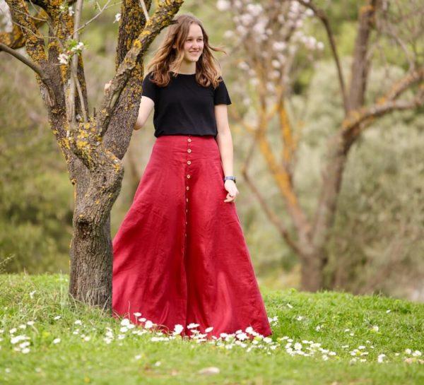 deer and doe fumeterre couture jupe Mars-elle lin bordeaux rouge
