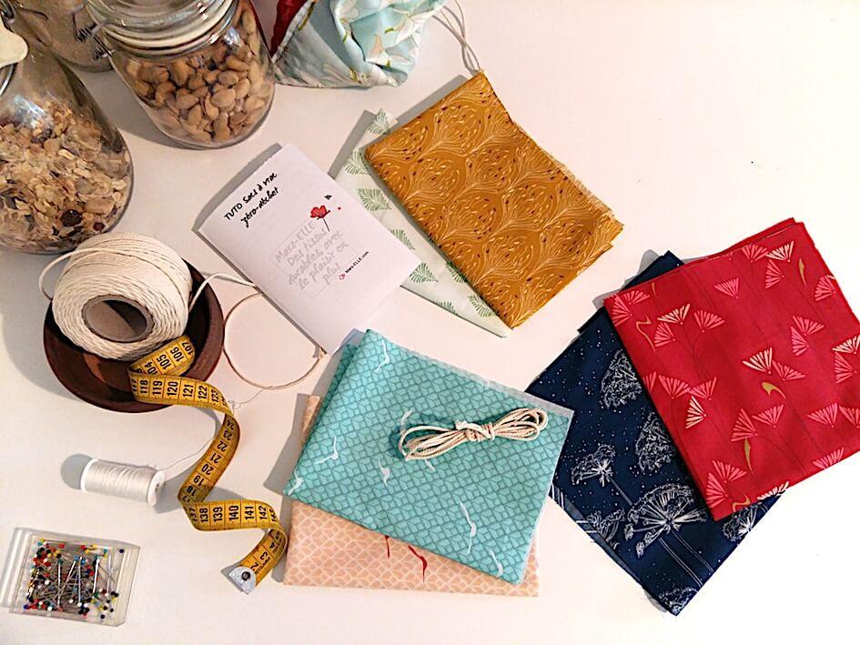 kit couture sac à vrac zéro-déchet tissu bio mars-elle tutoriel pochon débutant tissu bio coton