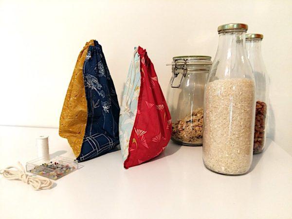 tuto couture sac à vrac zéro-déchet tissu bio mars-elle tutoriel pochon débutant tissu bio coton